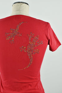 Y2K | Just Cavalli | Red Photo Print T-Shirt with Rhinestone Lizards