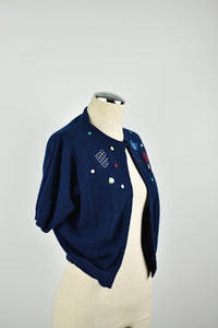 1950's | Peck and Peck | Cropped Cashmere Cardigan with a Tennis Theme