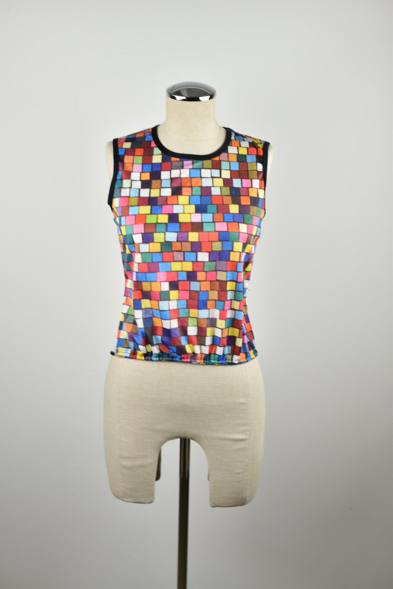 1990's | Todd Oldham | Deadstock Colorful Square Print Tank Top