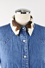 Load image into Gallery viewer, 1990's | Bill Blass | Western Style Denim Button Up with Faux Fur Collar