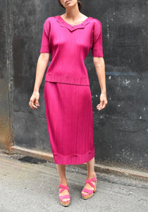 Issey Miyake Pleats Please | Magenta Top and Skirt Set