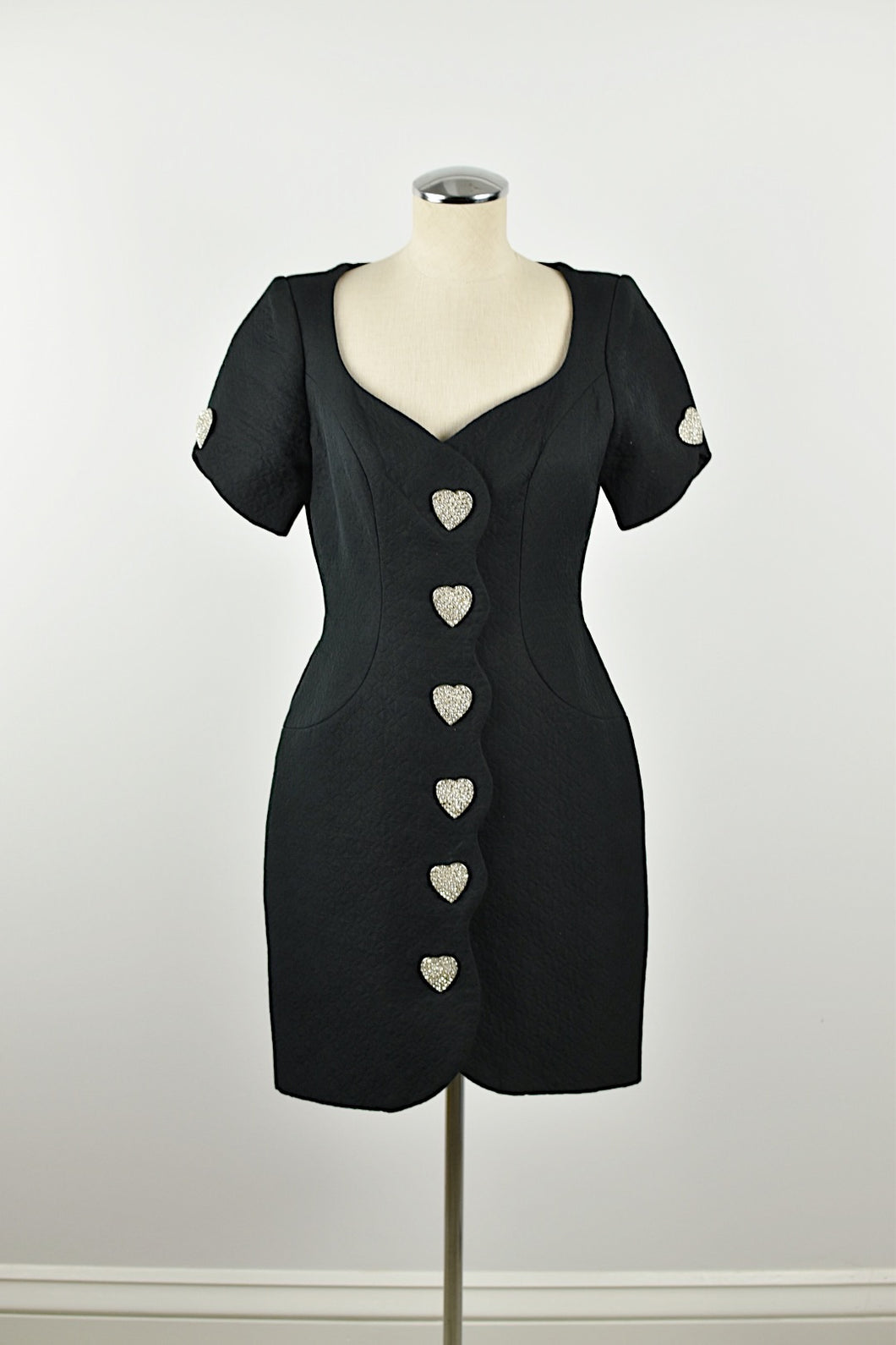 1980's | Bob Mackie | Black Short Sleeve Quilted Dress with Rhinestone Heart Buttons