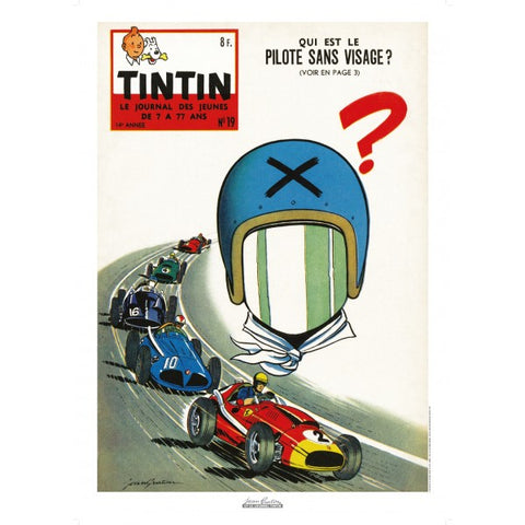Jean Graton - The Faceless Pilot - Tintin Magazine Cover - N°19 - 1959
