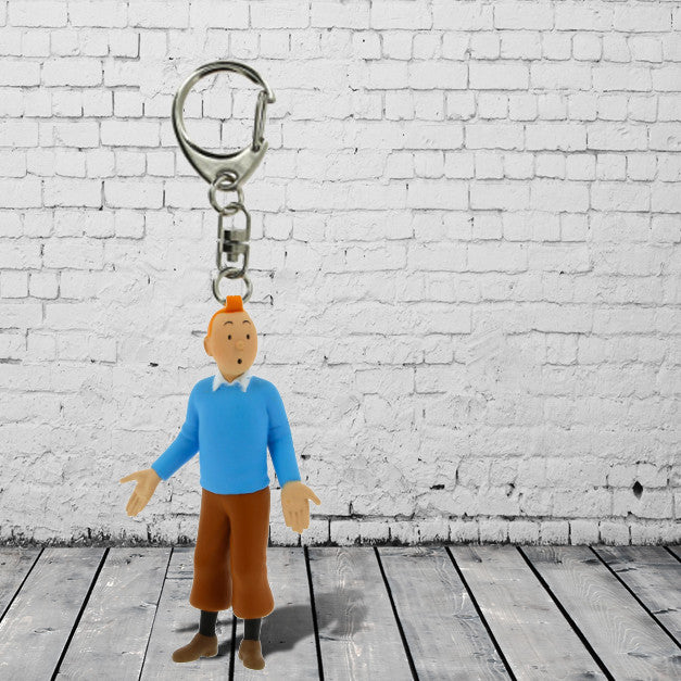 Tintin in blue water keyring