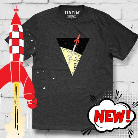 Destination Moon flare triangle - grey t-shirt - 10% Discount on all t-shirts & Sweatshirts Free postage in the UK Free Sheet of Tintin stickers. Free Tintin giftbag..