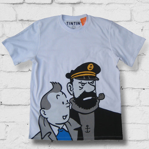 Tintin children's t-shirt range - Tintin + Captain Haddock - 10% Discount on all t-shirts & Sweatshirts Free postage in the UK Free Sheet of Tintin stickers. Free Tintin giftbag..