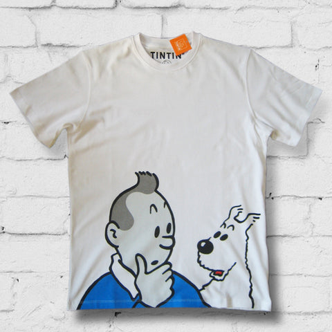 Tintin children's t-shirt range - Tintin Thinking - 10% Discount on all t-shirts & Sweatshirts Free postage in the UK Free Sheet of Tintin stickers. Free Tintin giftbag..