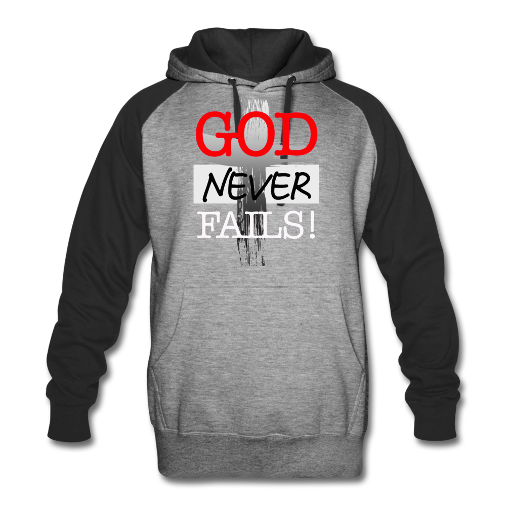 God Never Fails Colorblock Hoodie - heather gray/black