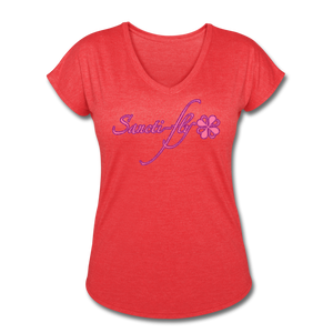 Sanctifly Women's Tri-Blend V-Neck T-Shirt - heather red