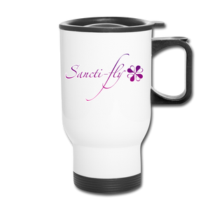Sanctifly Purple Travel Mug - white