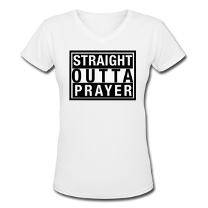 Straight Outta Prayer V-Neck T-Shirt - white