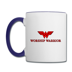 Worship Warrior Contrast Coffee Mug - white/cobalt blue