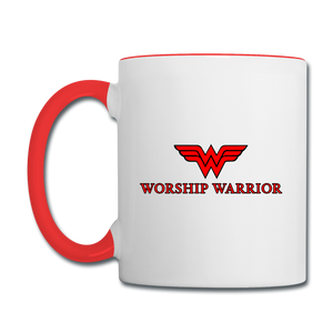 Worship Warrior Contrast Coffee Mug - white/red