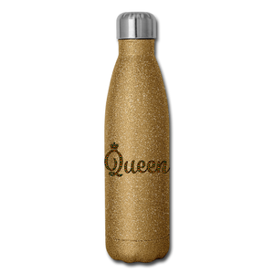 Queen Insulated Stainless Steel Water Bottle - gold glitter