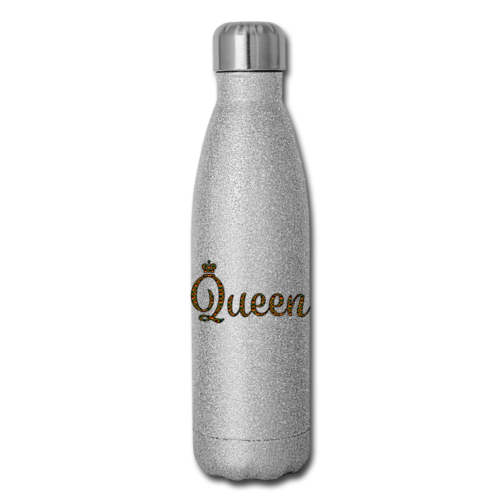 Queen Insulated Stainless Steel Water Bottle - silver glitter