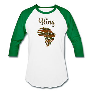 Safari King Baseball T-Shirt - white/kelly green