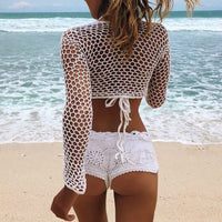 Mesh Crochet Top Bikini Cover Up O-Neck