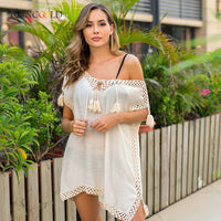 Beach Crochet Cover-up Cut-out Pareo Fringe