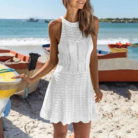 Solid Mesh Knitted Crochet Beach Tunics