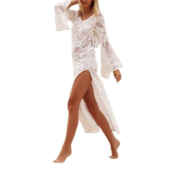 Long Sleeve Chiffon Crochet Bikini Cover Up