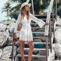 Floral Lace Hollow Tunic Beach Dress