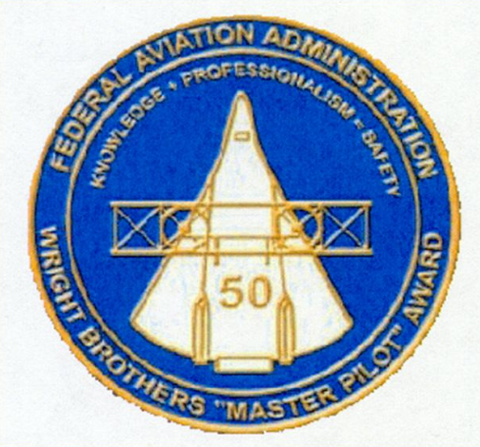 "FAA Wright Brothers' ""Master Pilot"" Award Embroided Patch"