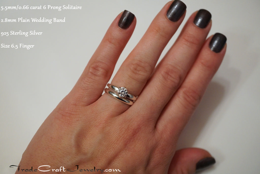 Classic 6 Prong CZ Engagement Ring Solitaires Plain Wedding Band