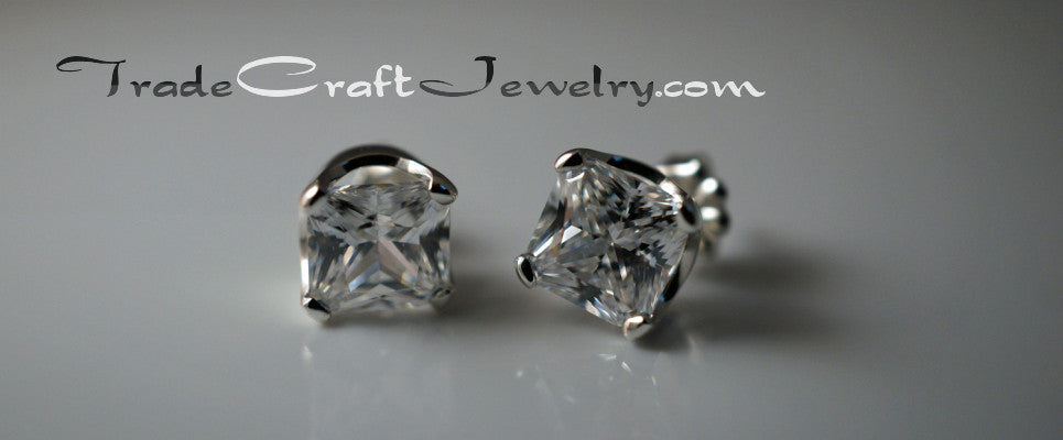 cubic zirconia sterling silver earrings princess cut