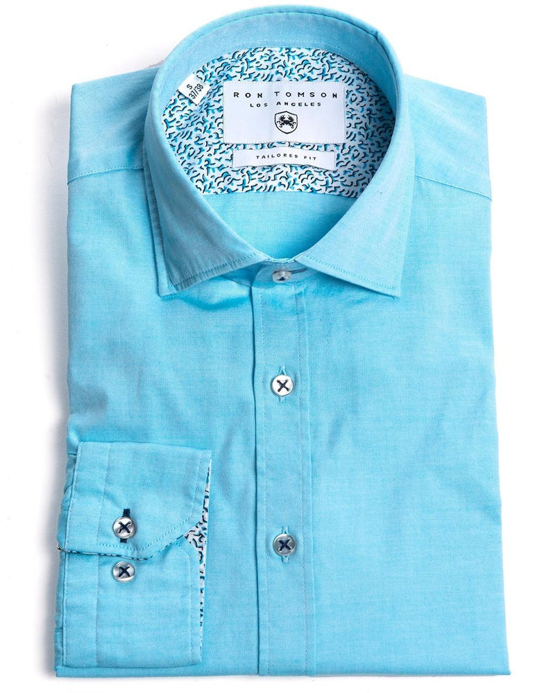 Contrast Slim Fit Spread Collar Shirt - Turquoise - Ron Tomson
