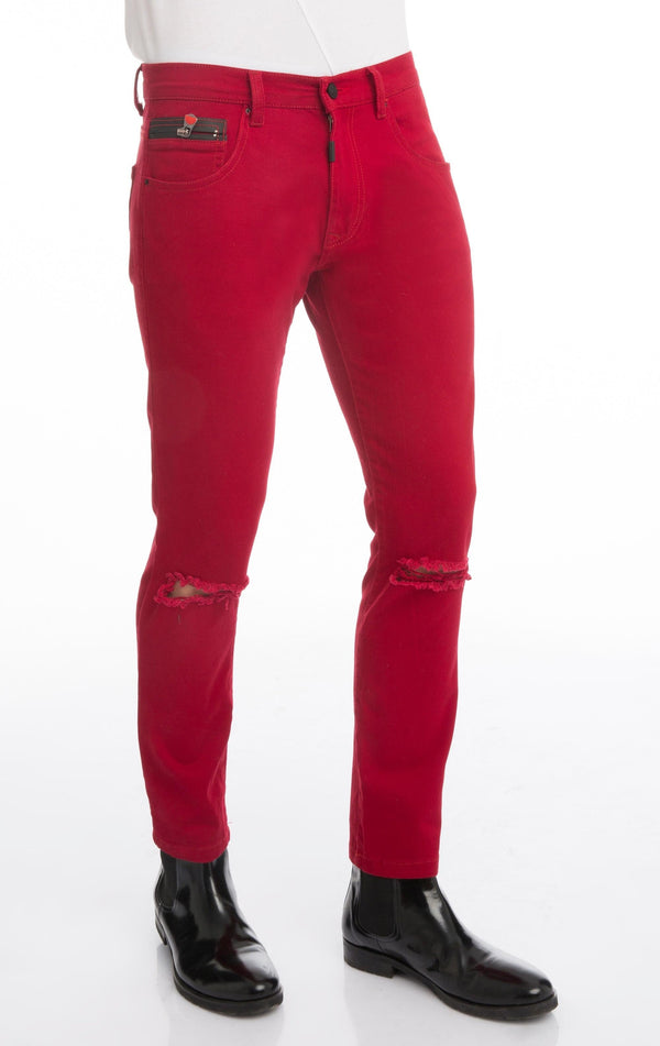 CHAIN FITTED SLIT CHINO - RED - Ron Tomson