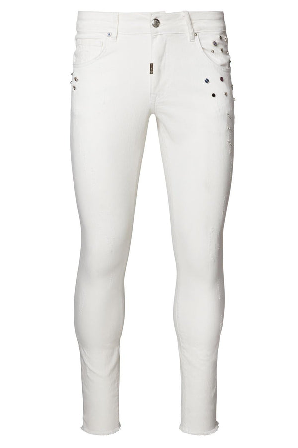 Deep Distressed Pierced Jewel Slim Fit  Jeans - White - Ron Tomson