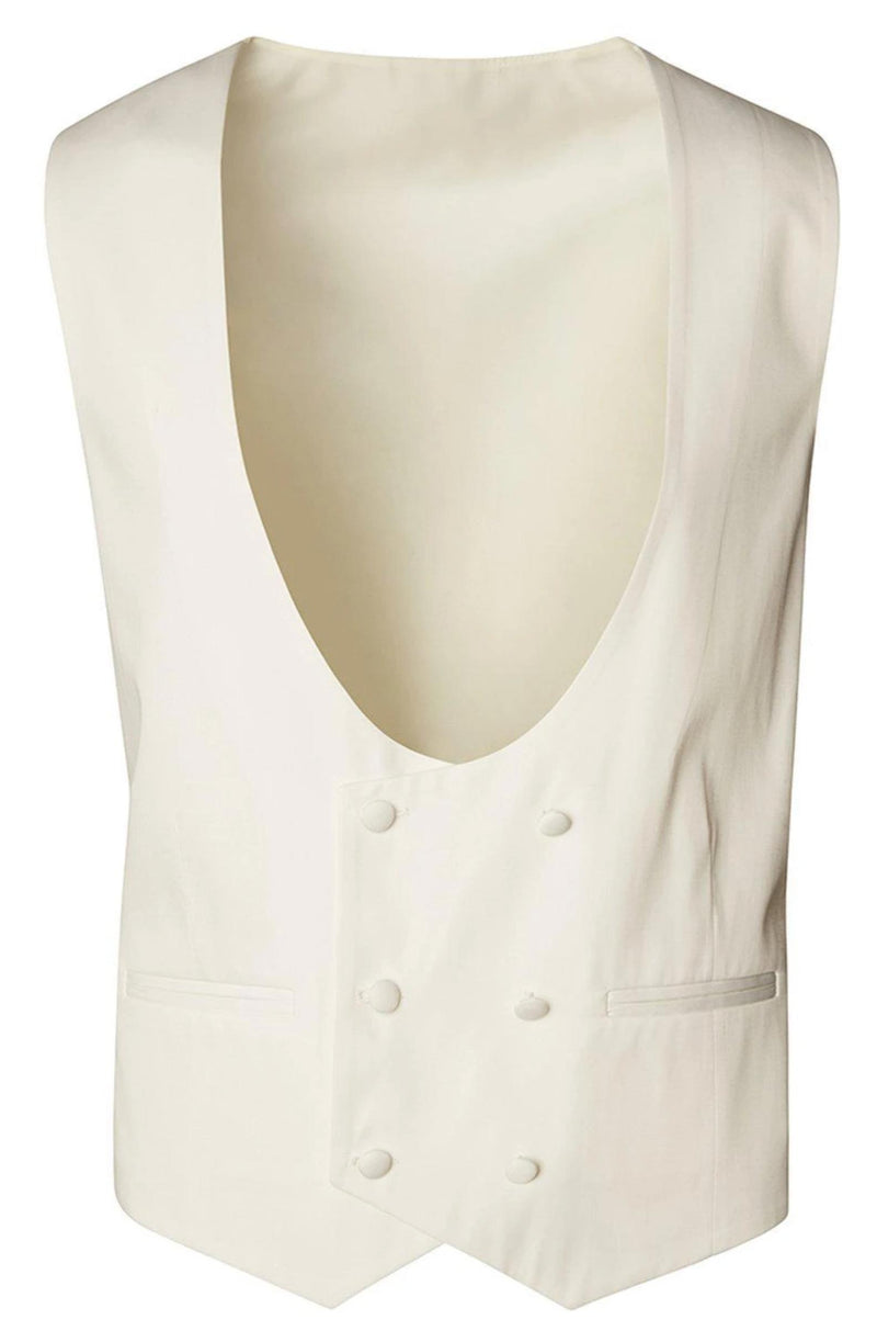 U SHAPED DOUBLE BREASTED VEST - WHITE - Ron Tomson ?id=27959804493909