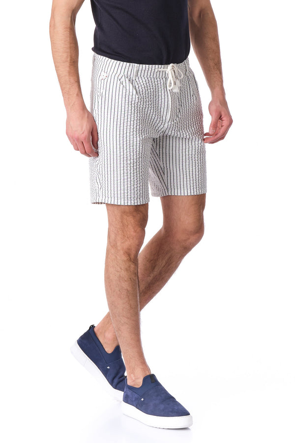 Drawstring Striped Shorts - Black White - Ron Tomson