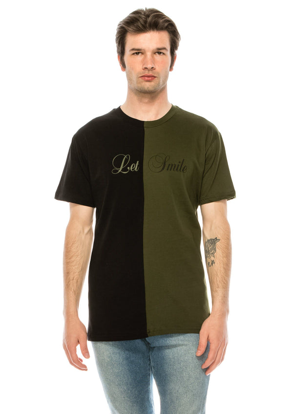Paneled Graphic Tee - BLACK KHAKI - Ron Tomson ?id=28050420727893