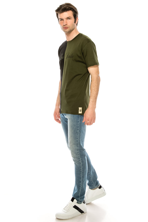 Paneled Graphic Tee - BLACK KHAKI - Ron Tomson ?id=28050420695125