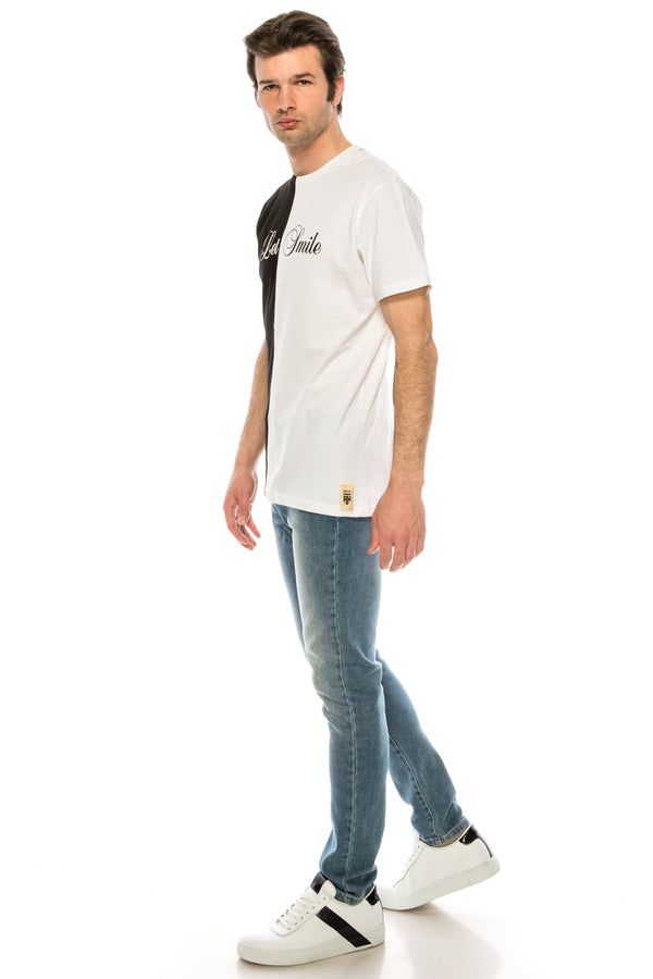 Paneled Graphic Tee - BLACK WHITE - Ron Tomson ?id=28050486394965