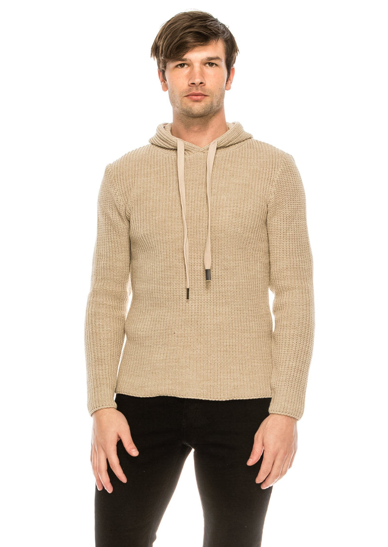 Mr. Snug Hooded knit sweater - BEIGE - Ron Tomson