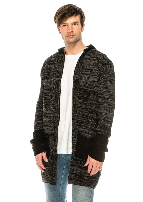 Mr Preppy knitted Cardigan - BLACK ANTHRACITE - Ron Tomson