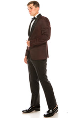 Textured Stretch Shawl Lapel Tuxedo - Burgundy - Ron Tomson