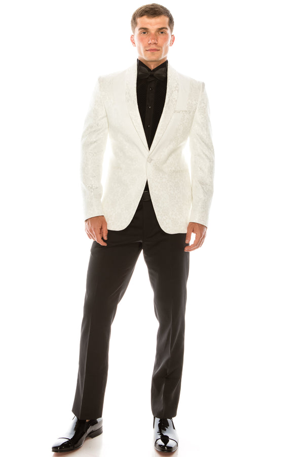 Contrast Placket Lace Tuxedo - White - Ron Tomson ?id=15196277604437