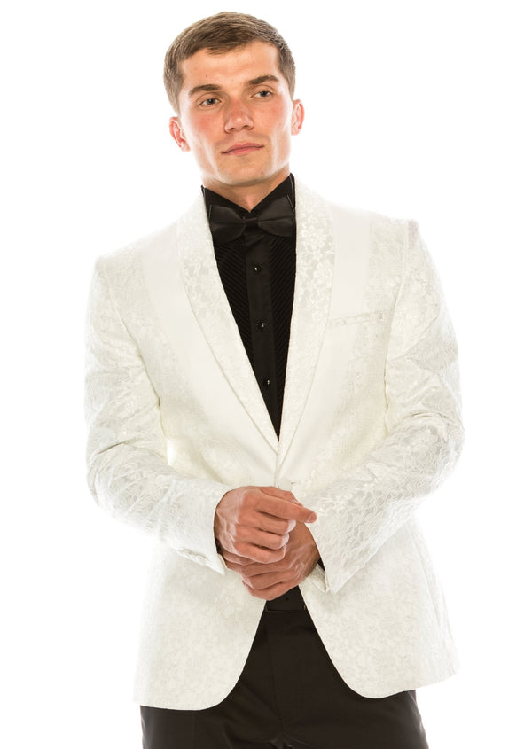 Contrast Placket Lace Tuxedo - White - Ron Tomson ?id=15196277538901
