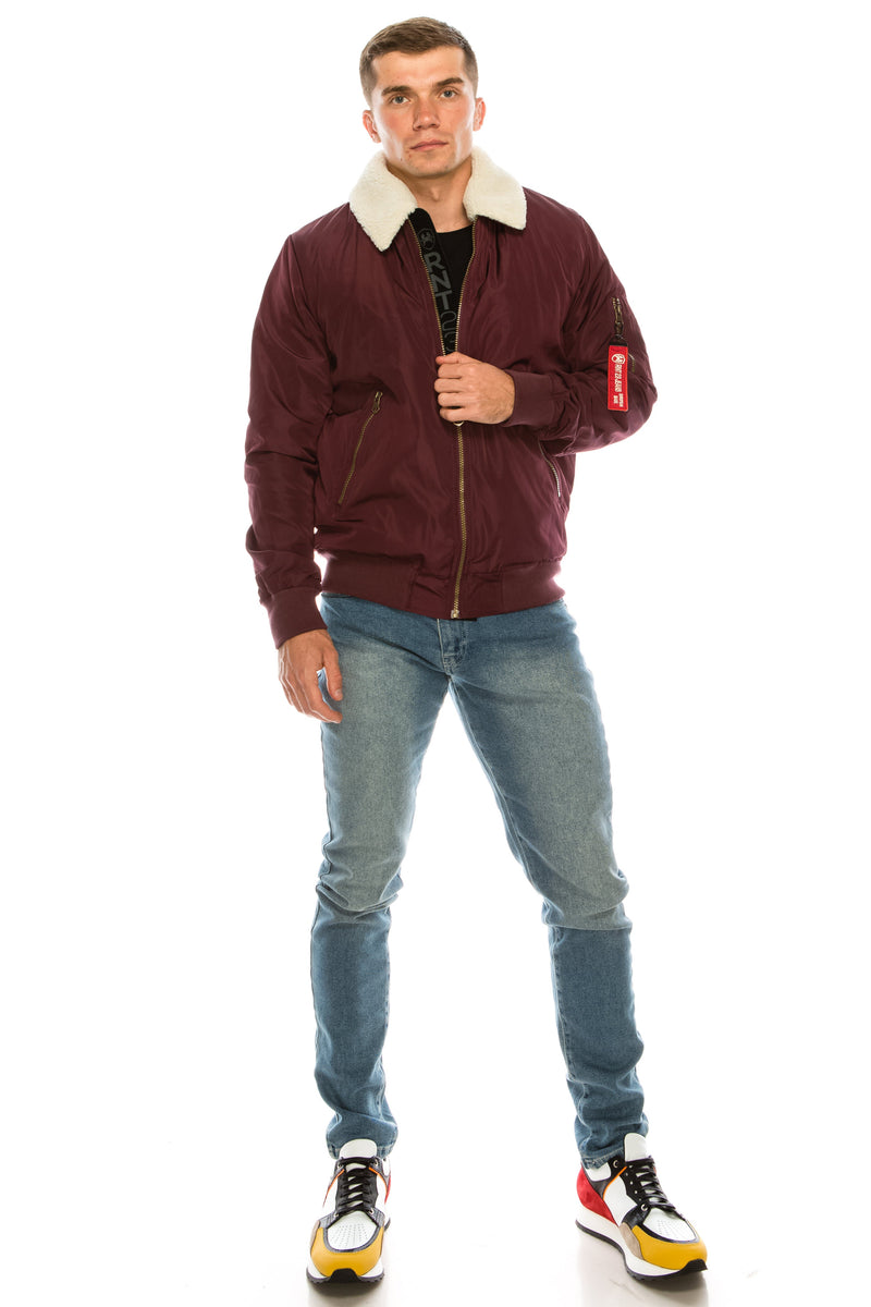 TEDDY COLLAR AVIATOR JACKET - BURGUNDY - Ron Tomson