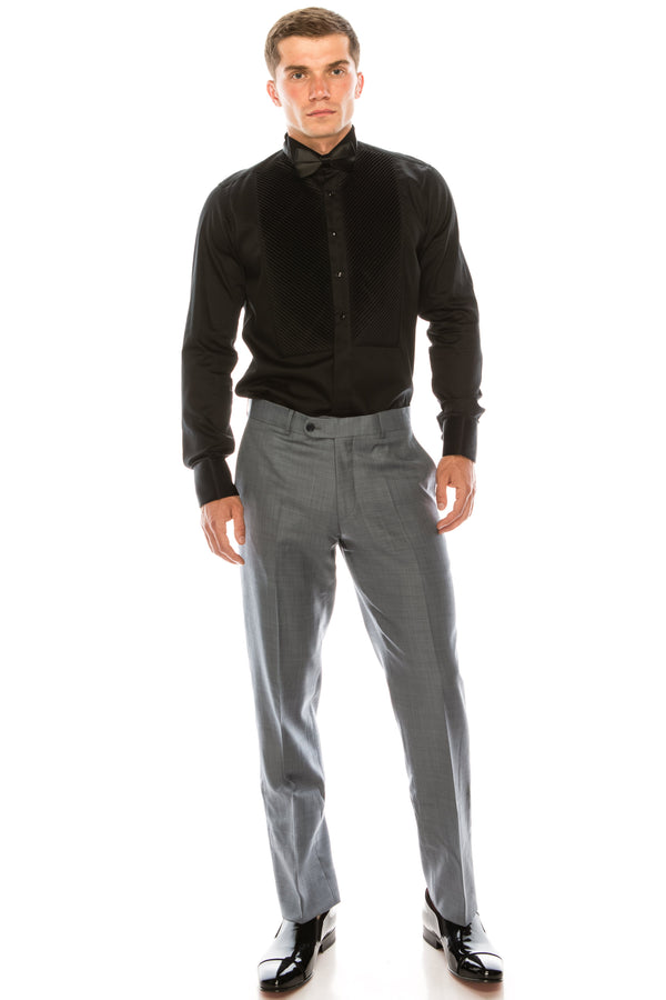 Merino Wool Tapered Dress Pants - Deep Grey - Ron Tomson ?id=15197172891733