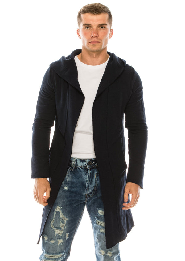 Longline Hooded Cardigan - Navy - Ron Tomson