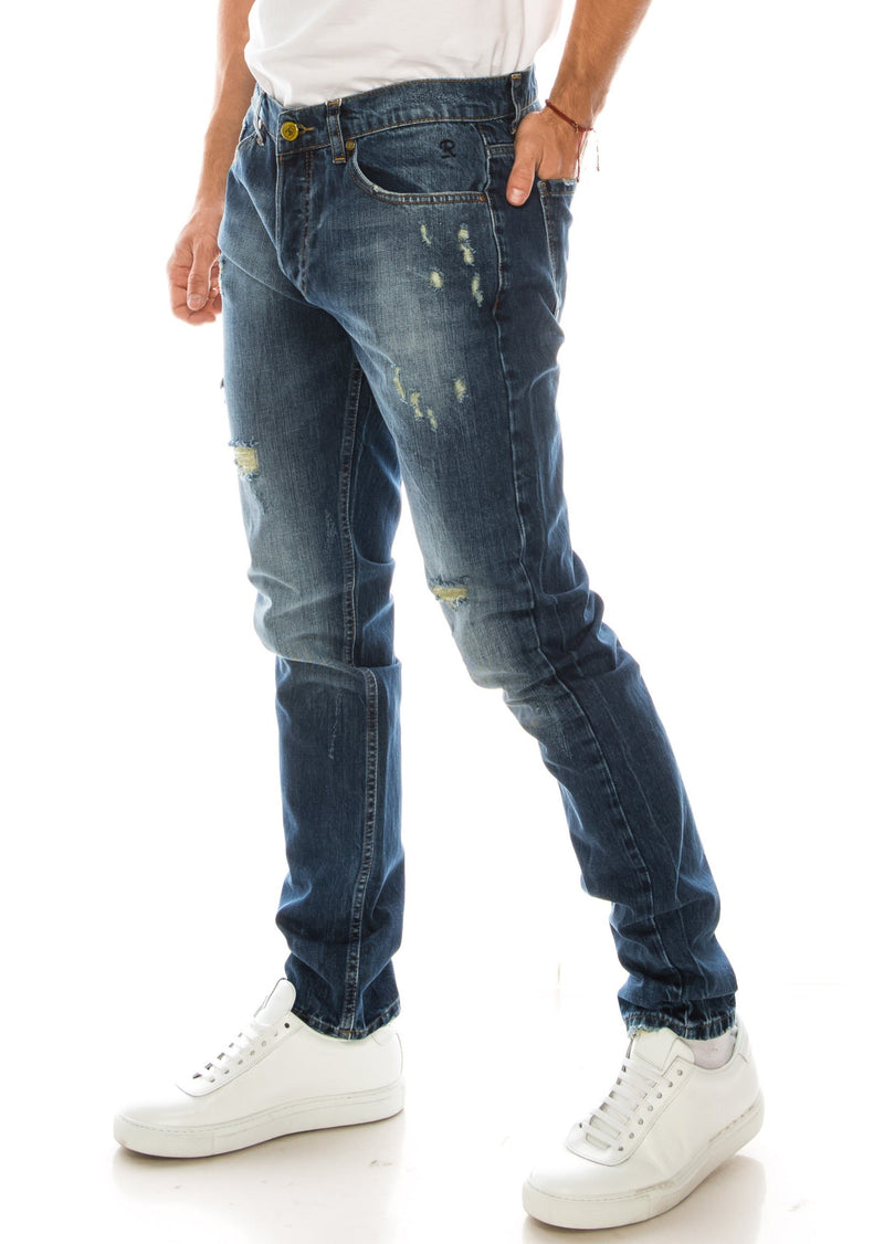 WASHED CONTRAST WARP SLIM - STRAIGHT DENIM - NAVY YELLOW - Ron Tomson