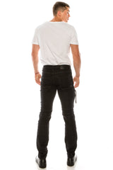 Distressed Moto Tapered Denim - Black White - Ron Tomson