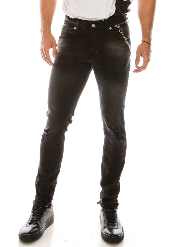 Grunge Skinny Denim - BLACK - Ron Tomson