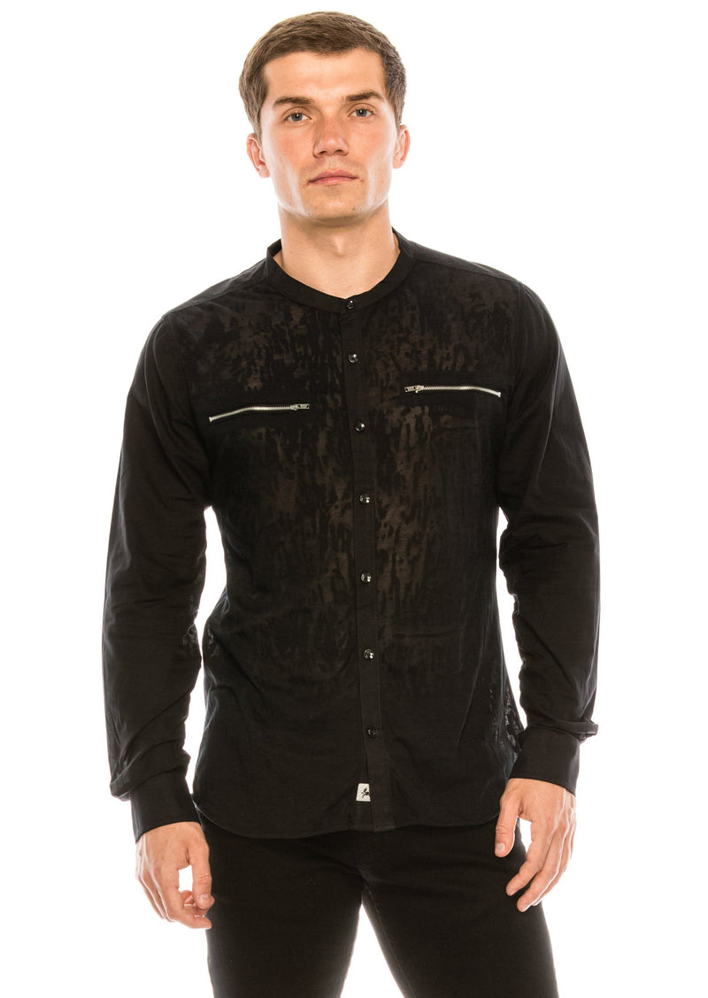 Burnout Sheer Zipper Pocket Shirt - Black - Ron Tomson ?id=15571582779477