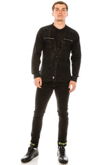 Burnout Sheer Zipper Pocket Shirt - Black - Ron Tomson ?id=15571582976085