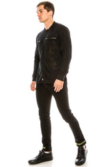 Burnout Sheer Zipper Pocket Shirt - Black - Ron Tomson ?id=15571582910549